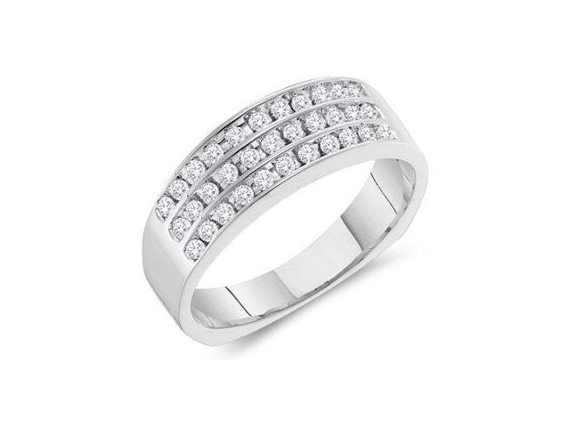 14k White Gold 3 Three Row Wide Channel Set Round Cut Mens Diamond Wedding Ring Band (1/2 cttw, H Color, I1 Clarity)