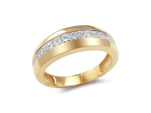 14k Yellow Gold Classic Channel Invisible Set Princess Cut Mens Diamond Wedding Ring Band (1.0 cttw, G - H Color, SI2 Clarity)