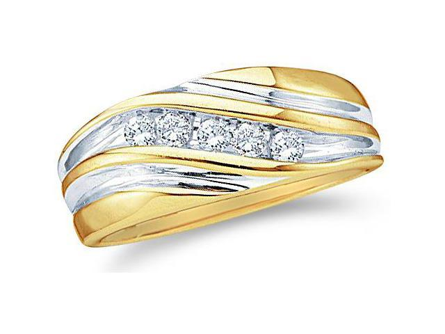 14k Yellow and White Two 2 Tone Gold Five 5 Stone Channel Set Round Cut Mens Diamond Wedding Ring Band 9mm (1/4 cttw, H Color, I1 Clarity)