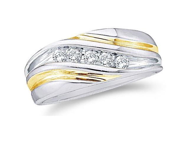 14k White and Yellow Two 2 Tone Gold Five 5 Stone Channel Set Round Cut Mens Diamond Wedding Ring Band 9mm (1/4 cttw, H Color, I1 Clarity)