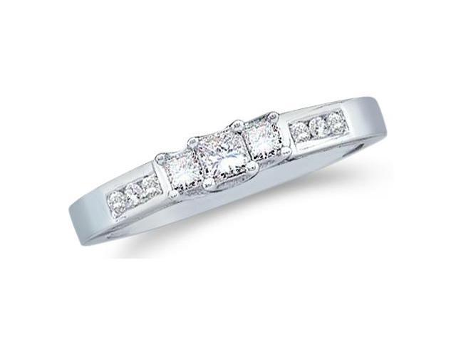 Solid 14k White Gold 3 Three Stone Princess Cut Diamond Engagement or Anniversary Ring Band with Round Side stones (1/4 cttw, H Color, I1 Clarity)