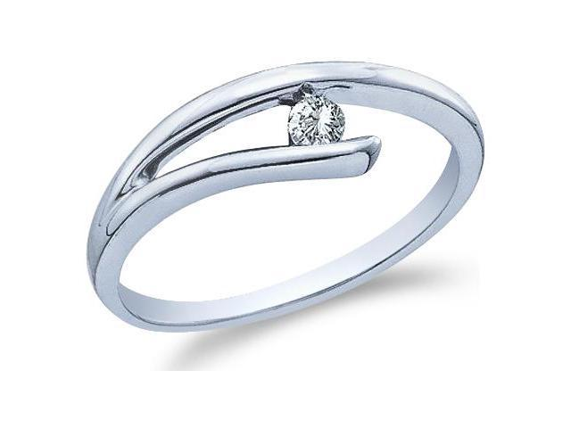 10k White Gold Solitaire Cross Over Round Cut Ladies Diamond Engagement Wedding Ring Band 5mm (.08 cttw, H Color, I1 Clarity)