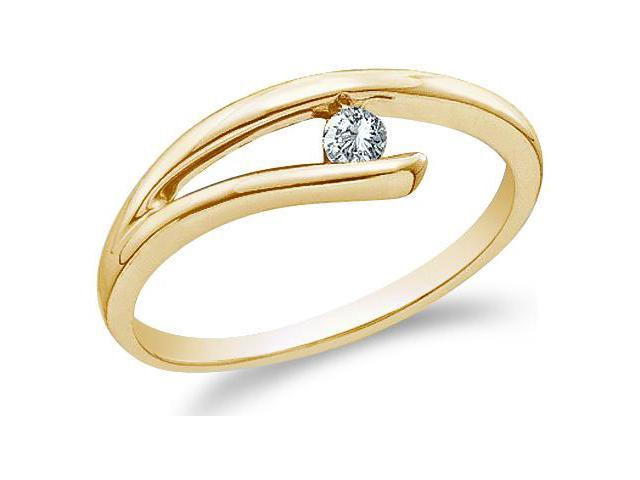 10k Yellow Gold Solitaire Cross Over Round Cut Ladies Diamond Engagement Wedding Ring Band 5mm (.08 cttw, H Color, I1 Clarity)