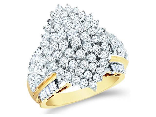 10k Yellow and White Two 2 Tone Gold Large Marquise Shape Cluster Round Cut & Baguette Diamond Engagement Ring 23mm (2.02 cttw, H Color, I1 Clarity)