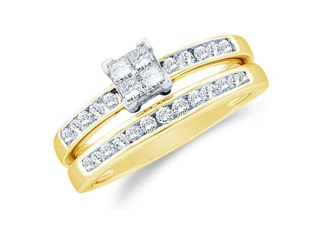 14k Yellow Gold Diamond Engagement Ring Wedding Band Two 2 Ring Set Solitaire Style Center Setting Side Stones Princess and Round Cut Diamond Ring 5mm (1/2 cttw, G - H Color, SI2 Clarity)