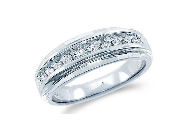 14k White Gold Classic Channel Set Round Cut Mens Diamond Wedding Ring Band 7mm (1/4 cttw, H Color, I1 Clarity)