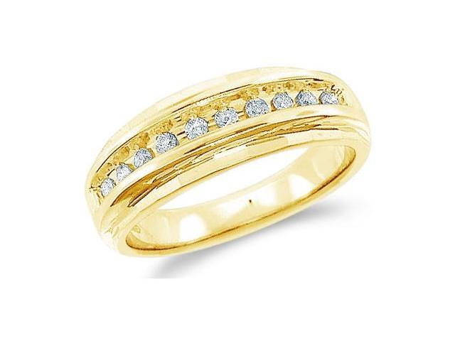 14k Yellow Gold Classic Channel Set Round Cut Mens Diamond Wedding Ring Band 7mm (1/4 cttw, H Color, I1 Clarity)