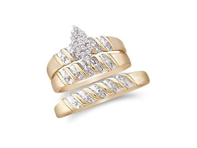 10k Yellow and White 2 Two Tone Gold Trio 3 Three Ring Matching Engagement Wedding Ring Band Set - Round Diamonds - Marquise Shape Center Setting (1/10 cttw, H Color, I1 Clarity)
