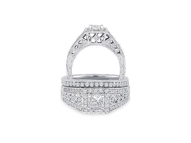 14k White Gold Diamond Engagement Ring Wedding Band Two 2 Ring Set Solitaire Side Stones Halo Princess and Round Cut Diamond Ring 8mm (.93 cttw, 1/2 ct Center, G - H Color, SI2 Clarity)