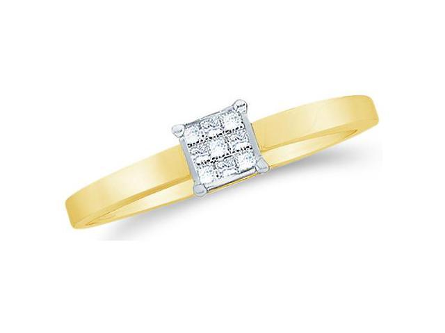 14k Yellow Gold Diamond Engagement Solitaire Channel Invisible Type Setting Princess Cut Diamond Ring  (1/10 cttw, H Color, I1 Clarity)