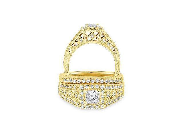 14k Yellow Gold Diamond Engagement Ring Wedding Band Two 2 Ring Set Solitaire Side Stones Halo Princess and Round Cut Diamond Ring 8mm (.93 cttw, 1/2 ct Center, G - H Color, SI2 Clarity)