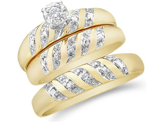 14k Yellow and White 2 Two Tone Gold Trio 3 Three Ring Matching Engagement Wedding Ring Band Set - Round Diamonds - Solitaire Center Setting (.07 cttw, H Color, I1 Clarity)