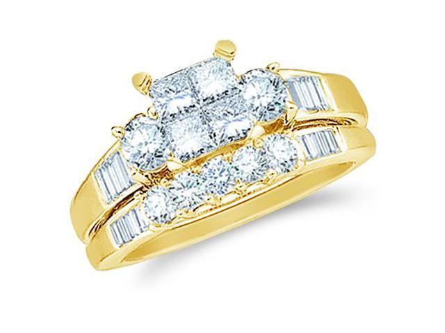 14k Yellow Gold Diamond Engagement Ring Wedding Band Two 2 Ring Set Solitaire Three 3 Stone Style Center Setting Five 5 Stone  Diamond Ring 5mm (1.0 cttw, G - H Color, SI2 Clarity)