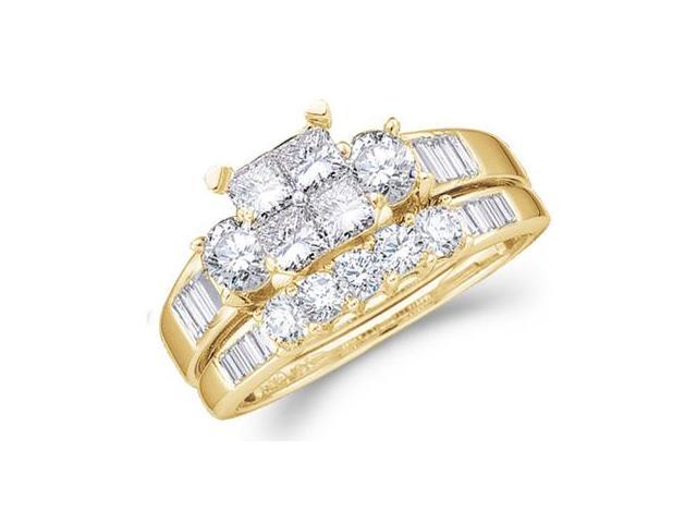 14k Yellow Gold Diamond Engagement Ring Wedding Band Two 2 Ring Set Solitaire Three 3 Stone Style Center Setting Five 5 Stone Large  Diamond Ring 7mm (2.0 cttw, G-H Color, SI2 Clarity)
