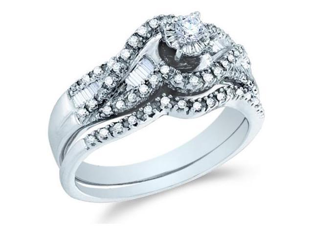 14k White Gold Diamond Ladies Engagement Ring Wedding Band Two 2 Ring Set Solitaire Side Stones Channel Pave Set Round and Baguette Cut Diamond Ring  (1/2 cttw, H Color, I1 Clarity)