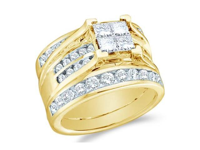 14k Yellow Gold Diamond Engagement Ring & Wedding Band Three 3 Ring Set Solitaire Style Center Setting Large Princess and Round Cut Diamond Ring  (2.0 cttw, G - H Color, SI2 Clarity)