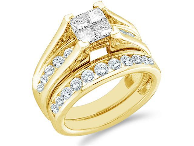 14k Yellow Gold Diamond Engagement Ring Wedding Band Two 2 Ring Set Solitaire Style Center Setting Side Stones Princess and Round Cut Diamond Ring 6mm (1.0 cttw, G - H Color, SI2 Clarity)