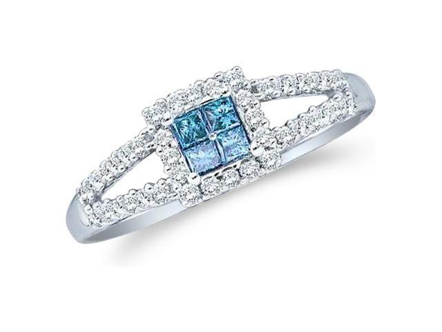 14k White Gold Blue Diamond Princess and Round Cut Diamond Engagement Ring  (1/3 cttw, H Color, I1 Clarity)