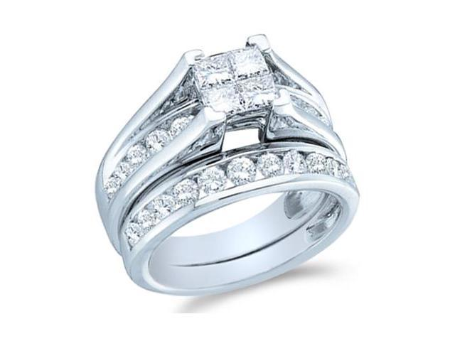 14k White Gold Diamond Engagement Ring Wedding Band Two 2 Ring Set Solitaire Style Center Setting Side Stones Princess and Round Cut Diamond Ring  (2.0 cttw, G - H Color, SI2 Clarity)