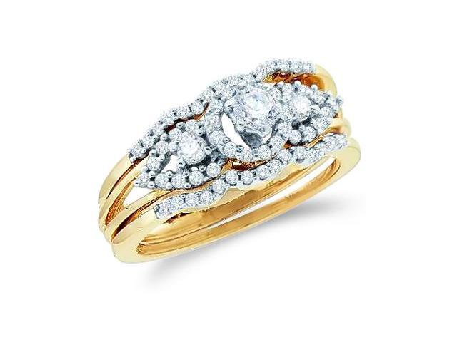 14k Yellow Gold Diamond Engagement Ring & Wedding Band Three 3 Ring Set Solitaire Three 3 Stone Style Center Setting Round Cut Diamond Ring  (1/2 cttw, G - H Color, SI2 Clarity)