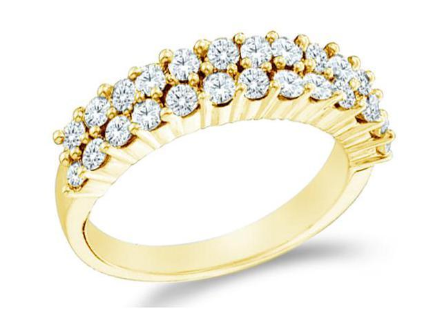 14k Yellow Gold Round Cut Diamond Ladies Womens Two Row Wedding or Anniversary Ring Band (1.0 cttw, G - H Color, I1 Clarity)