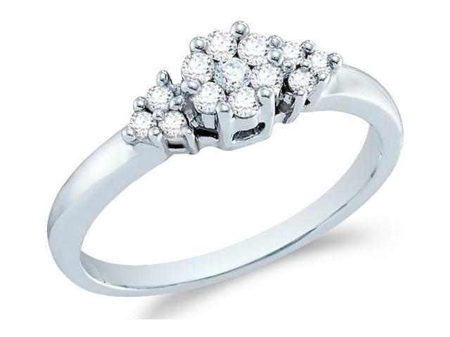 14k White Gold Three 3 Stone Style Round Cut Diamond Engagement Ring 5mm (1/4 cttw, H Color, I1 Clarity)