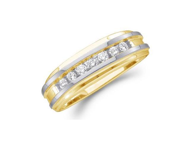 10k White and Yellow Two 2 Tone Gold Seven 7 Stone Channel Set Round Cut Mens Diamond Wedding Ring Band (1/4 cttw, H Color, I1 Clarity)