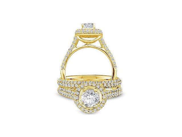 14k Yellow Gold Diamond Engagement Ring Matching Puffed Wedding Band Two 2 Ring Set Halo Round Cut Diamond Ring 10mm (1.23 cttw, 2/5 ct Center, G - H Color, SI2 Clarity)