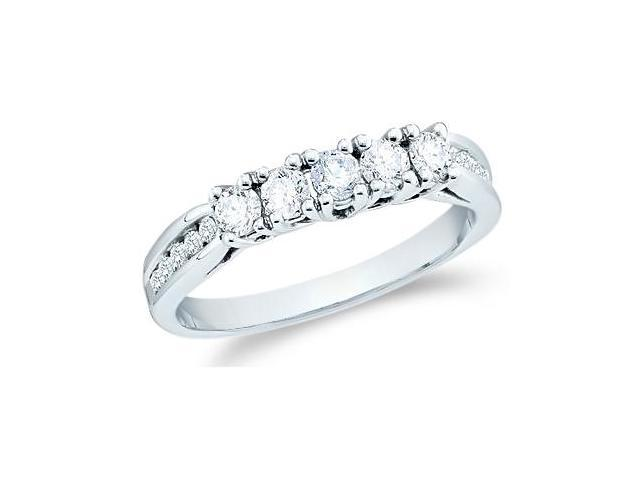 14k White Gold Round Cut Five Diamond Ladies Womens 5 Stone Wedding or Anniversary Ring Band with Side Stones (3/5 cttw, G - H Color, SI2 Clarity)