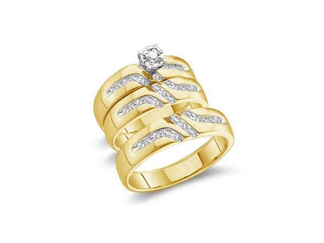 10k Yellow Gold Mens and Ladies Couple His & Hers Trio 3 Three Ring Matching Engagement Wedding Ring Band Set - Round Diamonds - Solitaire Center Setting (1/4 cttw, H Color, I1 Clarity)