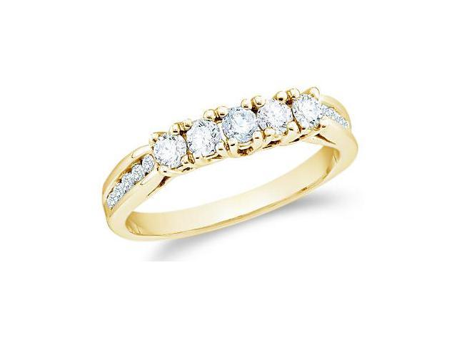 14k Yellow Gold Round Cut Five Diamond Ladies Womens 5 Stone Wedding or Anniversary Ring Band with Side Stones (3/5 cttw, G - H Color, SI2 Clarity)
