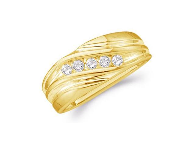 10k Yellow Gold Five 5 Stone Channel Set Round Cut Mens Diamond Wedding Ring Band 9mm (1/4 cttw, H Color, I1 Clarity)