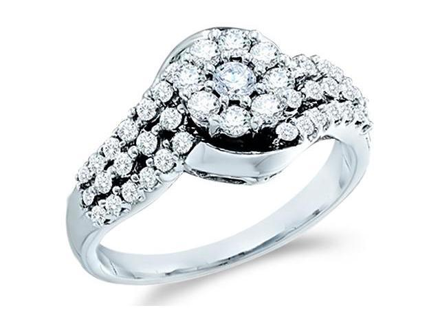14k White Gold Diamond Engagement with Side Stones Channel Pave Set Round Brilliant Cut Diamond Ring 20mm (3/4 cttw, H Color, I1 Clarity)
