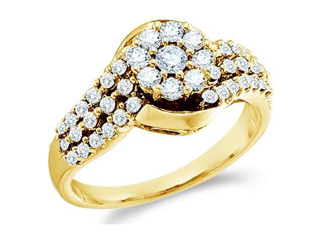 14k Yellow Gold Diamond Engagement with Side Stones Channel Pave Set Round Brilliant Cut Diamond Ring 20mm (3/4 cttw, H Color, I1 Clarity)