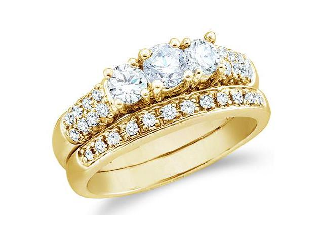 14k Yellow Gold Diamond Ladies Engagement Ring Wedding Band Two 2 Ring Set Three 3 Stone Style Center Setting Side Stones Round Cut Diamond Ring  (1.09 cttw, G - H Color, SI2 Clarity)