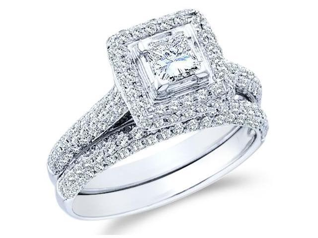 14k White Gold Diamond Engagement Ring Wedding Band Two 2 Ring Set Solitaire Side Stones Halo Princess and Round Cut Diamond Ring  (1.25 cttw, 2/5 ct Center, G - H Color, SI2 Clarity)