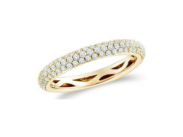 14k Yellow Gold Round Cut Diamond Ladies Womens Puff Dome Channel Set Wedding or Anniversary Ring Band (3/4 cttw, G - H Color, SI2 Clarity)