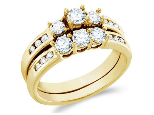 14k Yellow Gold Diamond Ladies Engagement Ring Wedding Band Two 2 Ring Set Three 3 Stone Style Center Setting Side Stones Round Cut Diamond Ring  (1.0 cttw, G - H Color, SI2 Clarity)