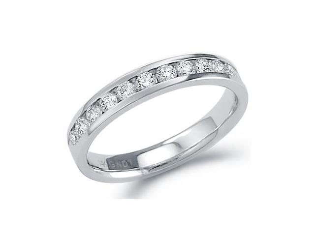 14k White Gold Round Cut Diamond Ladies Womens Channel Set Wedding or Anniversary 3mm Ring Band (1/2 cttw, G - H Color, SI2 Clarity)