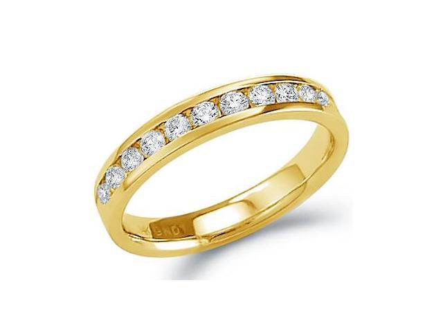 14k Yellow Gold Round Cut Diamond Ladies Womens Channel Set Wedding or Anniversary 3mm Ring Band (1/2 cttw, G - H Color, SI2 Clarity)