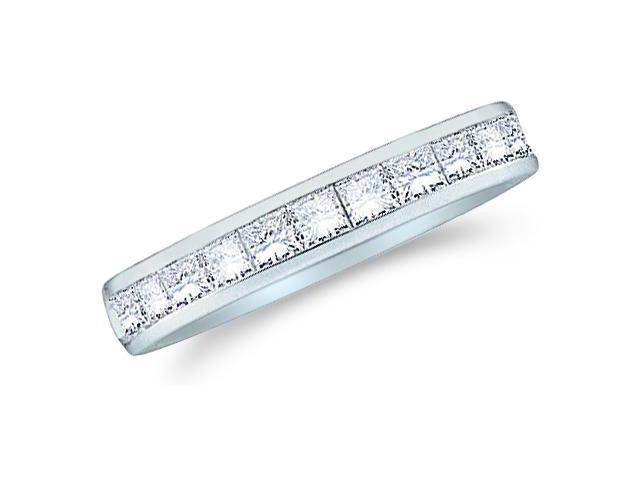 14k White Gold Princess Cut Channel Set Diamond Ladies Womens Wedding or Anniversary 3mm Ring Band (4/5 cttw, G - H Color, SI2 Clarity)