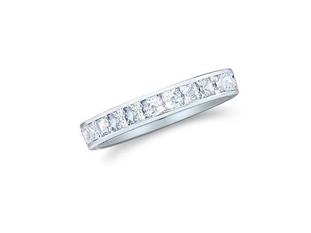 14k White Gold Princess Cut Channel Set Diamond Ladies Womens Wedding or Anniversary 3mm Ring Band (1.01 cttw, G - H Color, SI2 Clarity)