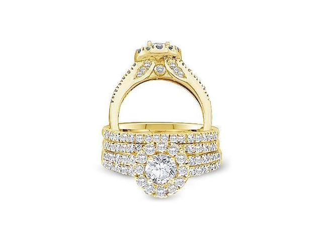 14k Yellow Gold Diamond Engagement Ring & Wedding Band Three 3 Ring Set Halo Large Princess and Round Cut Diamond Ring 10mm (1.25 cttw, 2/5 ct Center, G - H Color, SI2 Clarity)
