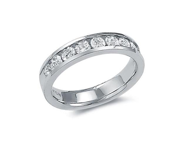 14k White Gold Round Cut Nine Diamond Channel Set Ladies Womens 9 Stone Wedding or Anniversary 4mm Ring Band (1.03 cttw, G - H Color, SI2 Clarity)