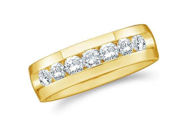 14k Yellow Gold Seven 7 Stone Channel Set Round Cut Mens Diamond Wedding Ring Band (1.50 cttw, G - H Color, SI2 Clarity)
