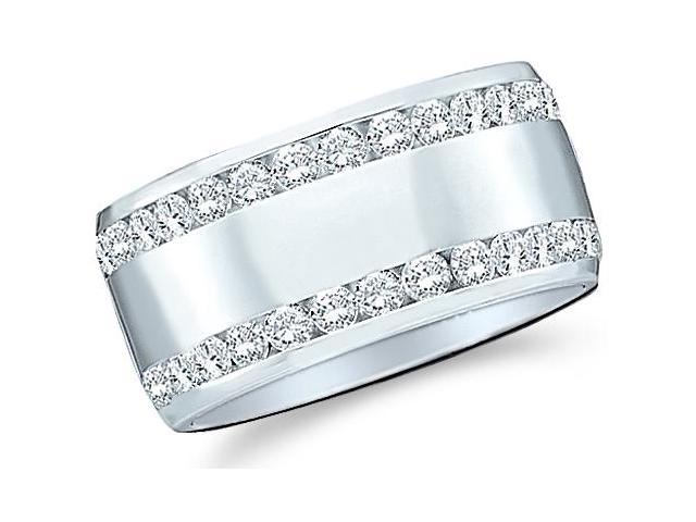 14k White Gold Round Cut Diamond Two Row Ladies Womens Channel Set Wide Wedding or Anniversary 8mm Ring Band (.53 cttw, G - H Color, SI2 Clarity)
