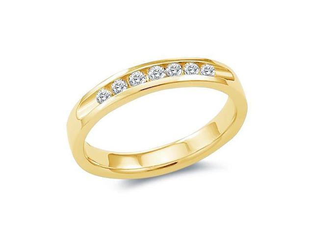 14k Yellow Gold Round Cut Seven Diamond Ladies Womens Channel Set 7 Stone Wedding or Anniversary Ring Band (.28 cttw, G - H Color, SI2 Clarity)