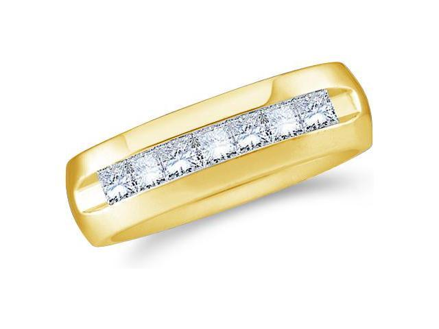 14k Yellow Gold Seven 7 Stone Channel Invisible Set Princess Cut Mens Diamond Wedding Ring Band 6mm (1/4 cttw, G - H Color, SI2 Clarity)