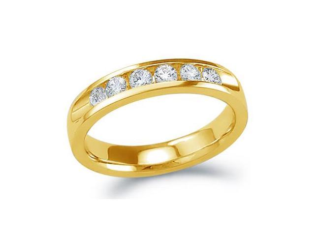 14k Yellow Gold Round Cut Six Diamond Ladies Womens 6 Stone Channel Set Wedding or Anniversary 4mm Ring Band (.53 cttw, G - H Color, SI2 Clarity)