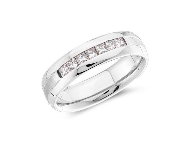 14k White Gold Seven 7 Stone Channel Invisible Set Princess Cut Mens Diamond Wedding Ring Band 6mm (.53 cttw, G - H Color, SI2 Clarity)